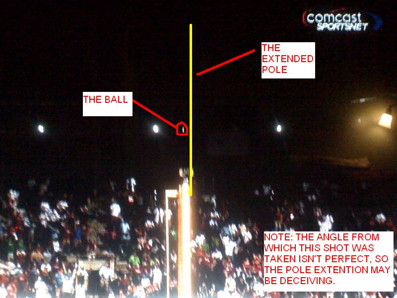 A screenshot from Comcast SportsNet's post game coverage that seemingly shows the ball going over the foul pole in the 11th inning. The foul call was not reviewed to the dismay of Charlie Manuel.
